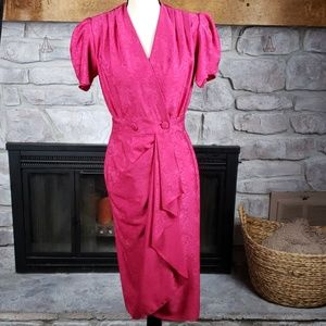 Vtg 80s Petite Collection hot pink Dynasty dress 7